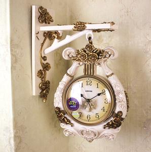 欧式双面挂钟客厅创意静音两面钟表现代复古美式时尚家用时钟竖琴