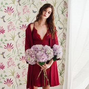 美梦性感吊带睡裙女夏季冰丝睡衣睡袍两件套春秋新娘晨袍薄款长款
