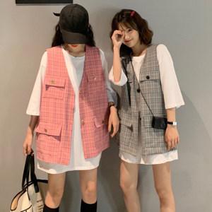 韩版潮宽松短袖上衣百搭t恤+v领马甲格子坎肩女外穿无袖外套夏天