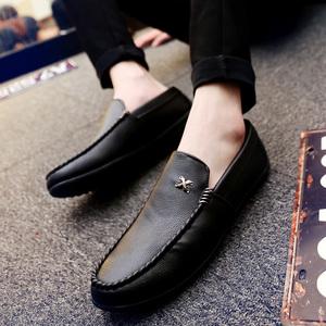 男士单鞋2019春季新款单鞋透气<span class=H>男鞋</span>子一脚蹬<span class=H>豆豆鞋</span>男商务休闲皮鞋