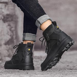 马丁靴男短靴秋冬季真皮百搭中帮靴子英伦风雪地工装皮靴黑色潮靴