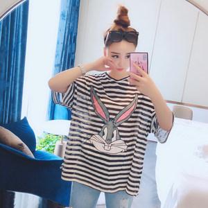 娃娃家潮流女装 2018夏季新款 韩版时尚显瘦卡通兔子条纹<span class=H>T恤</span>Y3571