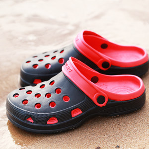 新款夏季男士双色<span class=H>洞洞鞋</span>沙滩防滑厚底包头凉拖鞋户外圆头<span class=H>鸟巢</span>凉鞋