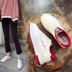 6厚底百搭板<span class=H>鞋子</span>2018新款小白鞋<span class=H>女鞋</span>平底学生韩版帆布白鞋