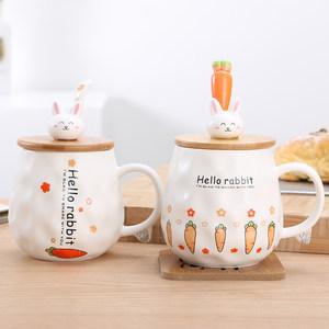 创意杯子陶瓷可爱咖啡杯陶瓷办公室<span class=H>水杯</span>女大肚马克杯带盖勺卡通杯
