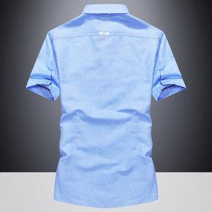2018新款牛仔短袖<span class=H>衬衫</span>男青年夏季薄款中袖寸衫潮宽松休闲半袖衬衣