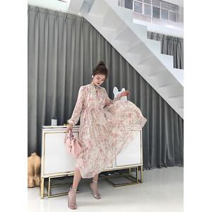 2018夏装新款碎花雪纺吊带连衣裙流苏系带沙滩<span class=H>长裙</span>仙女裙套装裙子