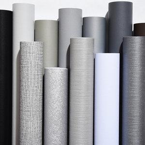 灰色壁纸<span class=H>自粘</span>卧室客厅纯色<span class=H>墙纸</span>素色防水衣柜家具翻新贴纸加厚环保