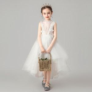 女童晚礼服公主裙白色蓬蓬纱小女孩洋气花童<span class=H>婚纱</span>裙儿童主持人演出