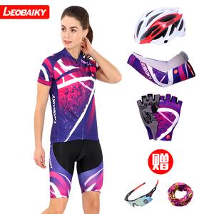 骑行服女套装山地车 夏季自行车服骑行服上衣短裤单车<span class=H>服装</span>女款