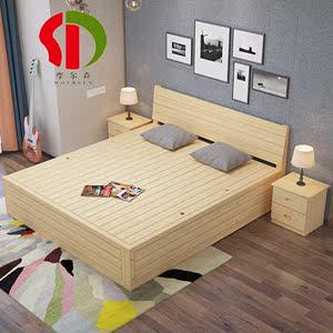 新品实木高箱床低箱硬骨架床双人气动床储物液压杆榻榻米松木定做