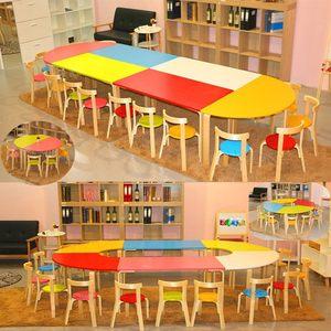 幼儿园托管早教美术辅导培训班桌椅学生儿童实木学习拼接组合桌椅