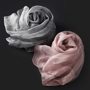 秋冬季品质新款真丝桑蚕丝羊毛<span class=H>围巾</span>女长款纯色披肩薄款拼接丝巾