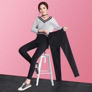 黑色九分<span class=H>打底裤</span>女外穿魔术铅笔裤高腰弹力显瘦紧身破洞小脚黑裤子
