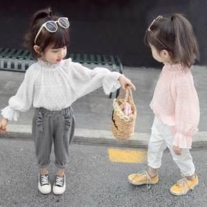 女童春季雪纺衫2019新款韩版公主长袖T恤洋气春秋衬衫3岁7岁5岁