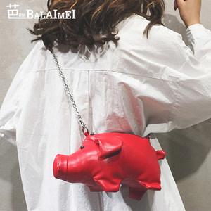 休闲小猪造型<span class=H>女包</span>时尚少女单肩包个性链条小包包创意可爱斜挎包潮