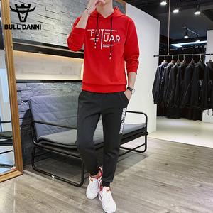 公牛丹尼2019新款套装男休闲运动一套帅气长袖T恤<span class=H>卫衣</span>裤子两件套