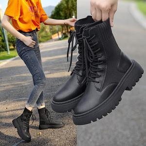 马丁靴女单靴百搭英伦风机车短靴