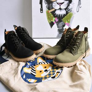 秋冬硬汉工装风马丁靴 男士高帮运动休闲帆布工装靴子 男鞋橡胶底