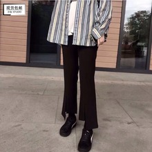Ffcheer 18 autumn and winter self-made high waist open-forked skinny black suit trumpet Pants Black broad-legged pants