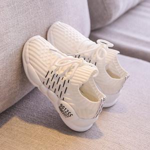 女童<span class=H>网鞋</span>2019新款时尚薄款轻便一脚蹬男童白色运动鞋网面透气夏季