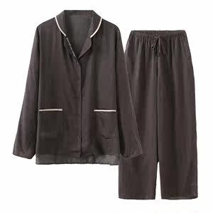 高蜜同款<span class=H>睡衣</span>桃蜜糖日系女夏透气薄款雪纺?#21019;?#22368;感衬衫领 套高密