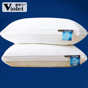 领10元券购买【一对装】紫罗兰全棉羽丝绒水洗枕头枕芯五星级酒店一对枕芯
