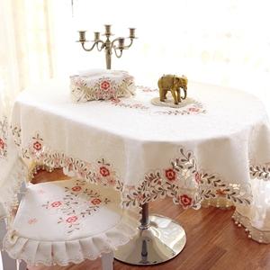 欧式田园风格绣花椭圆形桌布餐桌布椅套椅子套居家布艺餐厅台布粉