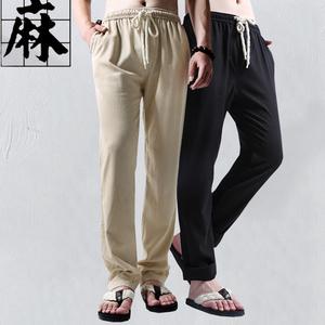 夏季复古休闲亚麻长裤男士薄款直筒<span class=H>棉裤</span>中国风大码麻粗布运动裤男