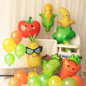 卡通水果蔬菜香蕉菠萝造型<span class=H>铝膜</span><span class=H>气球</span>儿童生日装饰节庆活动布置用品