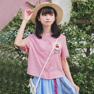 布衣酱2019夏装立领短袖格子衬衫女日系学生宽松设计感小众衬衣