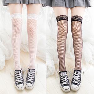 情趣蕾丝网袜长筒袜过膝高半筒袜吊带袜性感黑丝袜子女长款细网纱