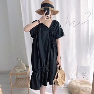 L23雅宿 ins风韩版设计感V领系带抽褶不规则裙摆连衣裙pb25
