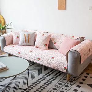 莫耐河 草莓甜心粉色全棉布艺<span class=H>沙发垫</span>坐垫透气防滑四季沙发盖巾套