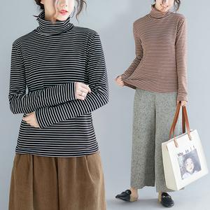 条纹棉T恤<span class=H>女装</span>秋冬新款文艺大码减龄气质舒适潮流高领内搭打底衫