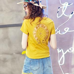 欧洲站欧货t恤女2018新款时尚女装夏装修身性感短袖后背镂空上衣C