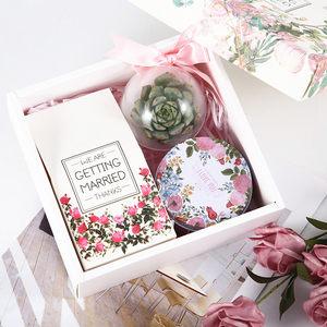 欧式婚品粉色碎花kuan多肉伴手<span class=H>礼盒</span>婚礼糖盒回礼礼物生日成品结婚