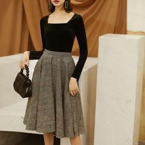 2018秋冬新品 气质纹格<span class=H>伞裙</span>羊毛呢高腰显瘦格子半身裙超大裙摆女