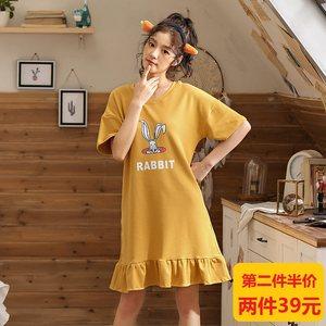 韩版睡裙女夏纯棉短袖甜美<span class=H>睡衣</span>宽松夏季少女士可爱卡通薄款家居服