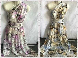 紫粉黄色报纸图案100%桑蚕丝真丝雪纺布料 时装裙子<span class=H>围巾</span>衬衣面料