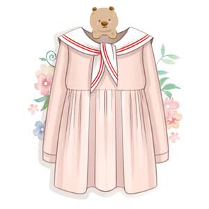 日系清新海军领学院风可爱少女甜美软萌粉色短款娃娃裙<span class=H>连衣裙</span>