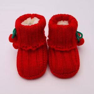 宝宝毛线鞋<span class=H>成品</span> 婴儿绣花编织0一6个月加绒保暖软底学步鞋冬