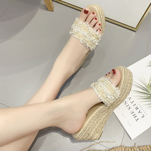 High-heeled slippers women summer fashion 100 sets of Pearl lace, sloping heel knitted hemp rope muffin sandals wear