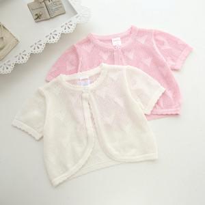 女宝宝夏季纯棉薄款短款披肩外套女童短袖针织开衫坎肩镂空空调衫