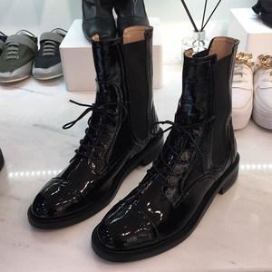 韩国女鞋2019春季新款圆头百搭系带套筒平底<span class=H>短靴</span>漆皮机车马丁靴