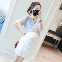 Pregnant women's dress in summer of 2019 New fashionable short-sleeved pregnant women's skirt Korean version of pregnant women's summer dress jacket