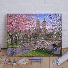 Diy Digital Oil Painting Living Room Landscape Flowers Animation Characters Hand-painted Custom Decorative Cherry Blossom Campus