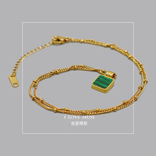 Originally created 2019 Chao Senior Sense Delicate and Simple 14K Gold-plated Fast-fading Green Natural Stone Hanging Clavicle Necklace