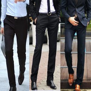 春季商务男士西裤直筒修身黑色西装裤薄款小脚正装免烫<span class=H>西服</span>裤上班