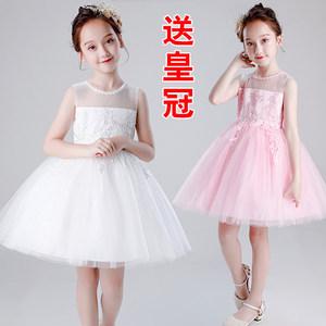 女童连衣裙幼儿园六一舞蹈表演裙白色粉色短款蓬蓬纱裙公主裙礼服